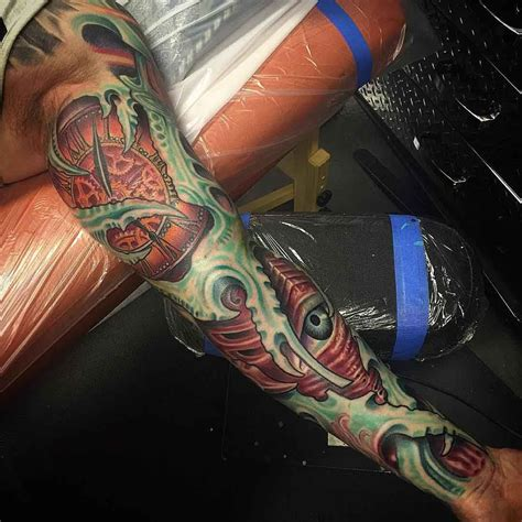 organic tattoo organic sleeve biomechanical biomechanical
