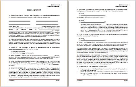 ms word lease agreement template word document templates