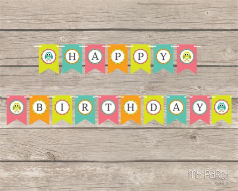 owl birthday party printable banner my party design
