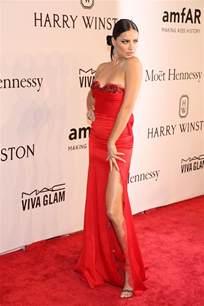 Adriana lima beaded sweetheart red carpet celebrity prom dress amfar