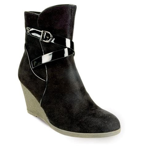 wedge boots glc365 black suede wedge ankle boot