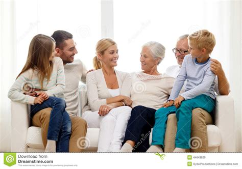 happy family sitting on at home stock image image
