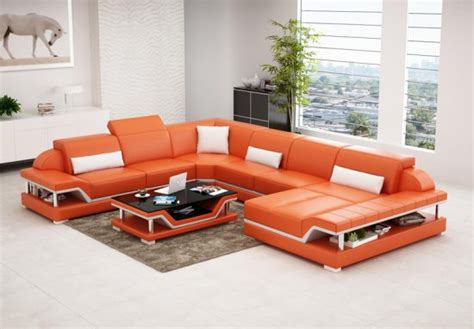 Orange Leather Sofas Bright Look With Warm And Bright Leather Sofa