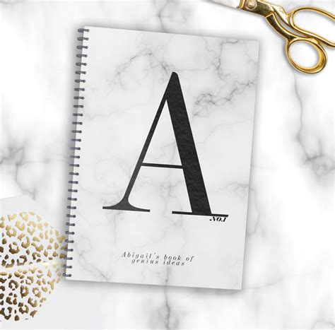 marble pattern notebook personalised monogram marble notebook by august grace