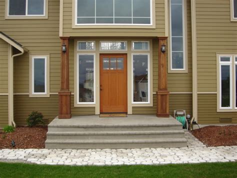 home exterior design with pillars front porch creating the chic yet comfy cedar front porch