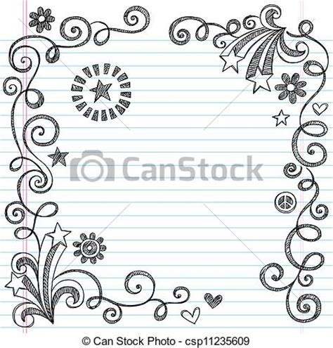 Christmas Lights Clip Art Vector Clipart Of Sketchy Doodle Page Border Back