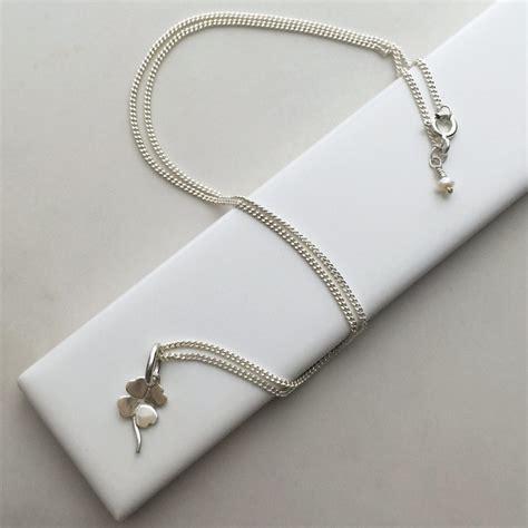 Leaf Necklace four leaf clover necklace in sterling silver