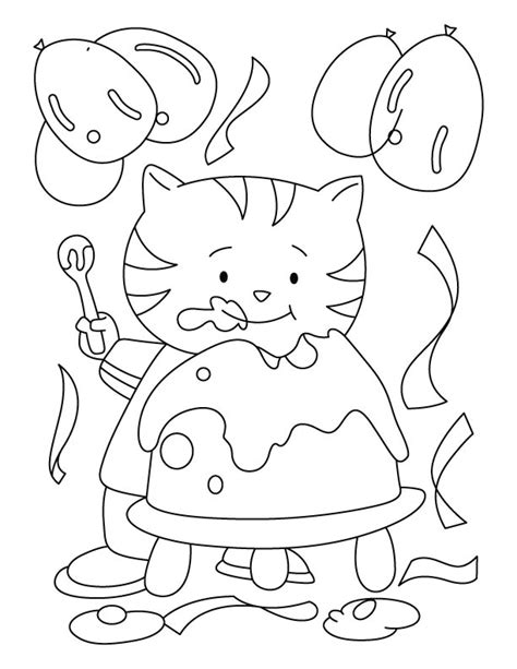 birthday cat coloring page birthday cake color pages az coloring pages