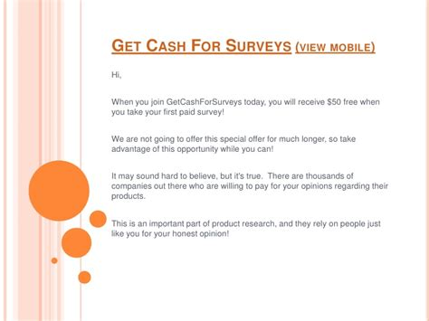 Get Cash For Surveys - get cash for surveys view mobile