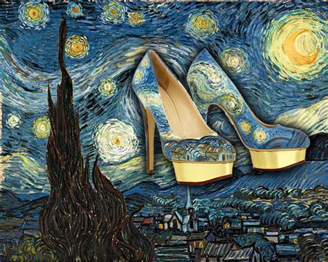 painting work high heel shoes painted to look just like famous artworks