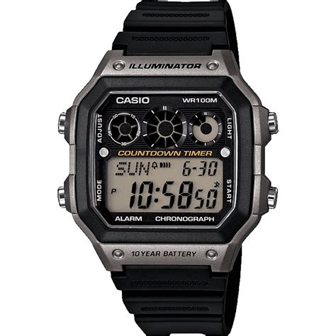 Jam Tangan Pria Casio Digital Ae 1200whd World Time 10 Years Battery casio collection timepieces products casio