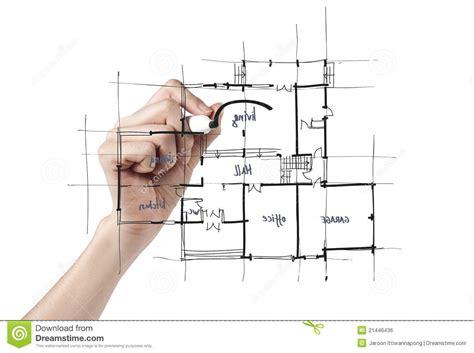 Blueprint Designer Free architetto che disegna una casa immagine stock libera da