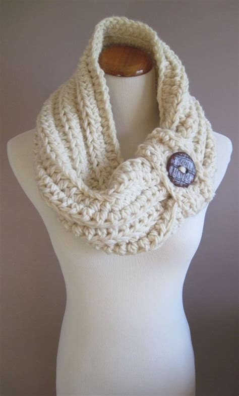 knitted cowl with buttons pattern chunky bulky button crochet cowl white with rust