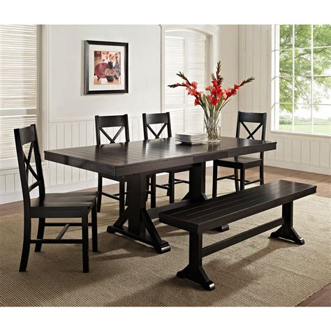bench dining set walker edison black 6 piece solid wood dining set with