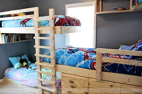 Three Level Bunk Bed 3 Level Bunk Bed Diy Wood Plans Free Desk