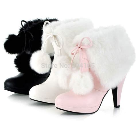 Cutie Bootie Shoes White new winter fashion s fur motorcycle boots high heel