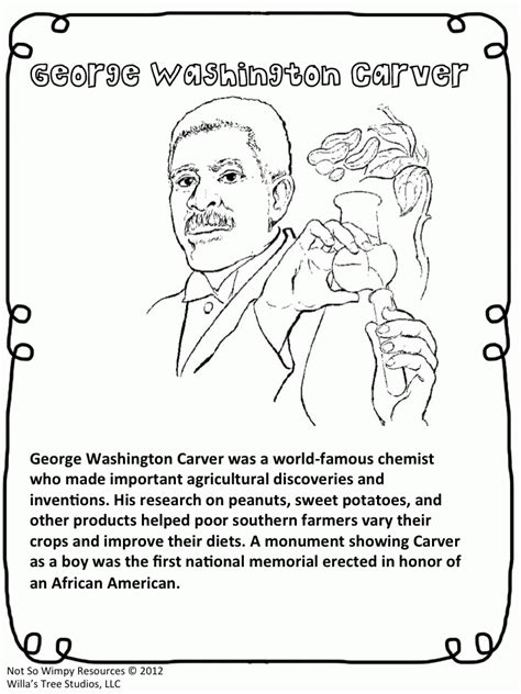 george washington carver coloring page coloring home