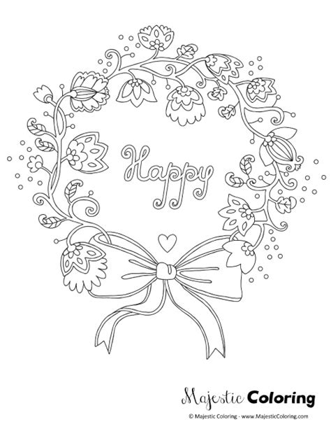 flower wreath coloring page free adult coloring page happy floral wreath