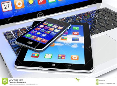 mobile tablet pc laptop tablet pc and smartphone royalty free stock photo