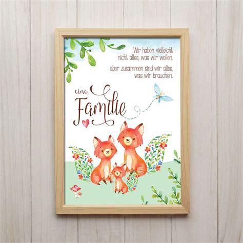 kinderzimmer bild fuchs details zu fuchs familie kunstdruck din a4 spruch tiere
