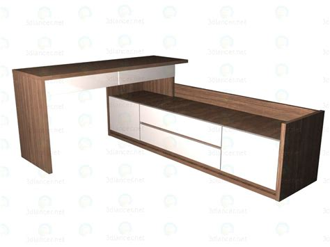 3d model writing desk 150 with low wide chest of drawers