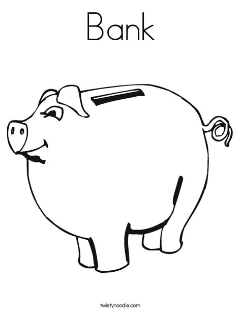 Bank Coloring Page Twisty Noodle Piggy Bank Coloring Page