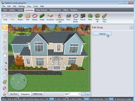 layout editor ungroup using the house wizard