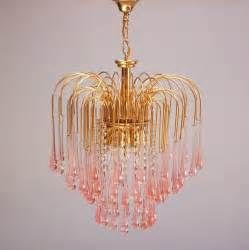 Glass Teardrop Chandelier Murano Pink Teardrop Waterfall Chandelier By