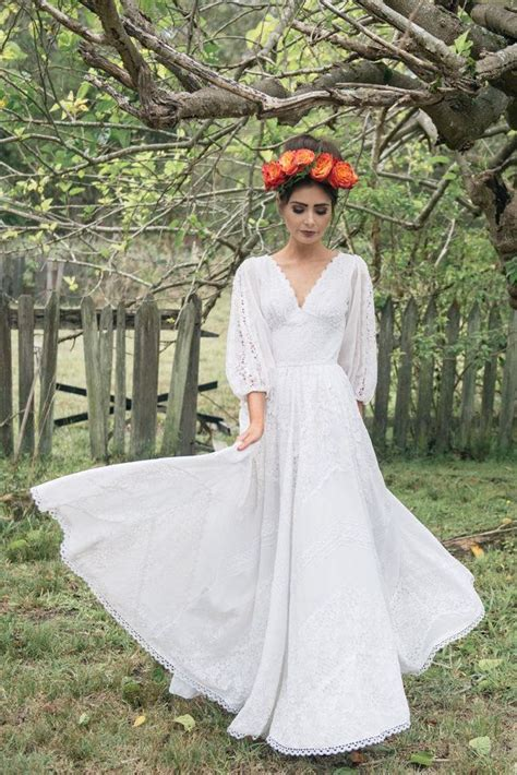 frida 1970 s mexican cotton lace wedding dress cotton