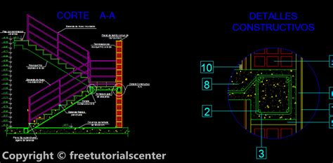 staircase section dwg file reinforced concrete staircase detail