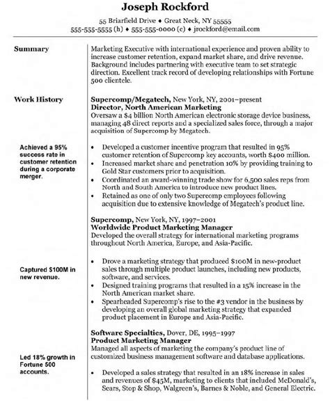 Professional Resume Sle Doc Resume Format For Marketing Doc 28 Images 10000 Cv And Resume Sles With Free Cv Format
