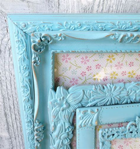 shabby chic frames teal aqua set of 5 medium to large