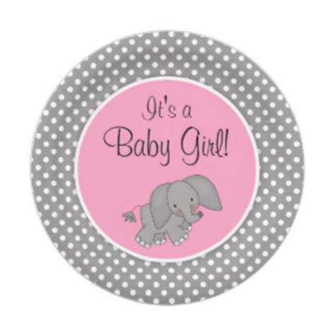 Pink Polka Dot Wall Stickers elephant baby shower girl pink and grey elephant clip