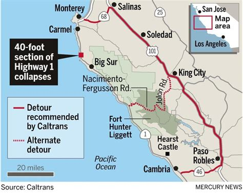 map us hwy 1 landslide closes picturesque highway 1 the mercury news