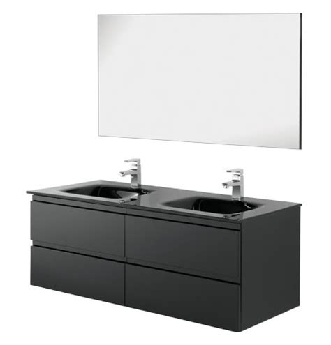 mobile bagno nero arredobagno doppio lavabo black 120 cm