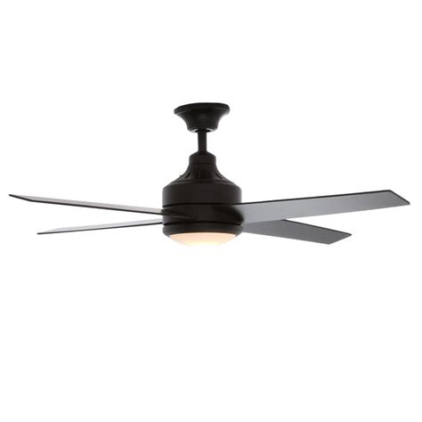 black ceiling fan with light and remote hton bay mercer 52 in indoor matte black ceiling fan