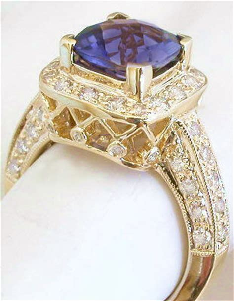 0 93ct Purple Blue Iolite Cut Top Colour cushion cut iolite engagement ring with lattice gallery in