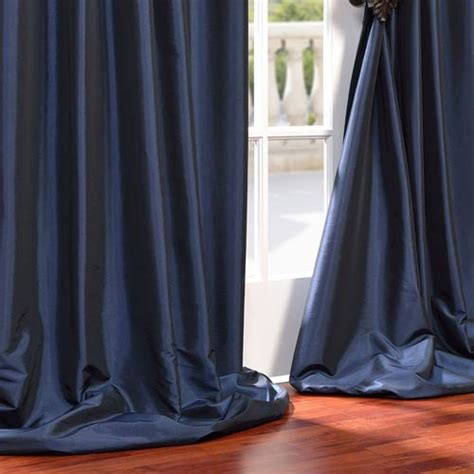 96 Inch Navy Blue Curtains Navy Blue 96 X 50 Inch Grommet Blackout Faux Silk Taffeta