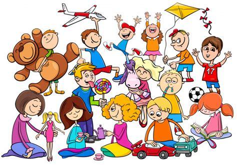 dibujos niños jugando con juguetes grupo de ni 241 os jugando con juguetes de dibujos animados