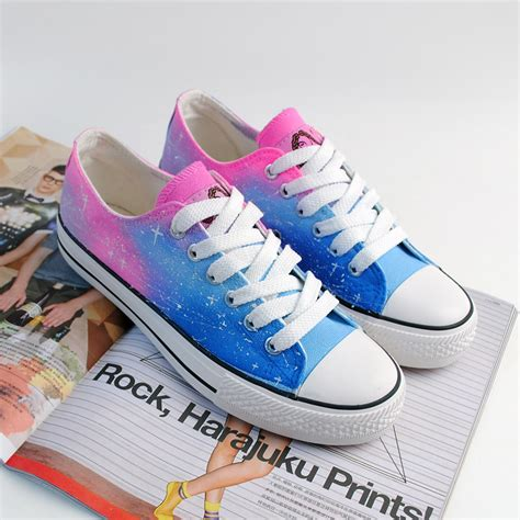 a 091033 tie dye gradient harajuku canvas shoes on luulla