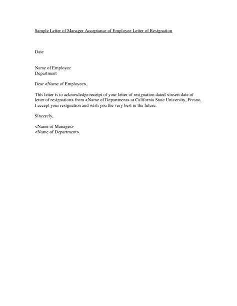 Acceptance Letter Of Resignation By Employer by Resignation Letter Format Best Employment Resignation Letter Sles Sle Exles