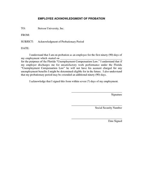 Evaluation Letter Sle For Employee employment probation letter template 28 images best