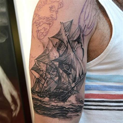 stylish ship tattoo