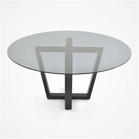 Glass Dining Table With Oak Base Smoked Glass And Oak Base Dining Table Rotsen Furniture
