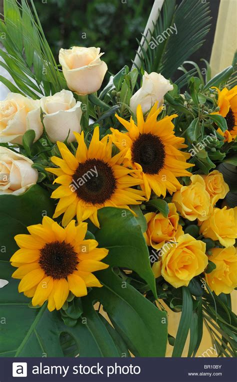 yellow and pink sunflowers flower yellow sunflowers white pink roses green leaves bouquet