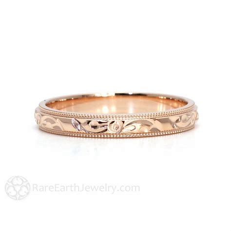 Wedding Rings Engraved by Engraved Wedding Band Vintage Wedding Ring 3mm Floral Flower