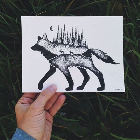miniature hybrid illustrations of wild animals combined