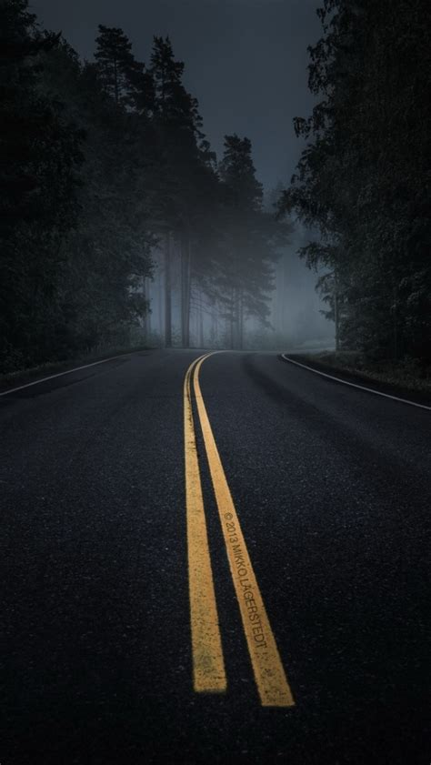 dark road forest night mood iphone  wallpaper