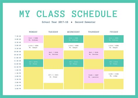 weekly college schedule office templates