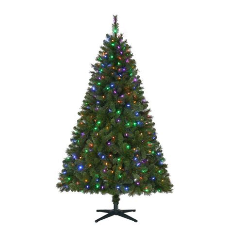 2 ft tree with lights home accents 6 5 ft pre lit led wesley artificial